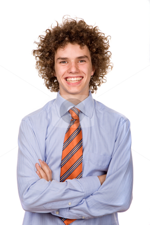 Happy stock photo, Happy young man portrait isolated on white by Rui Vale de Sousa