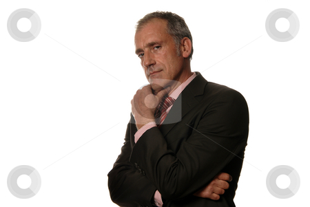 Thoughts stock photo, Business man isolated over a white background by Rui Vale de Sousa