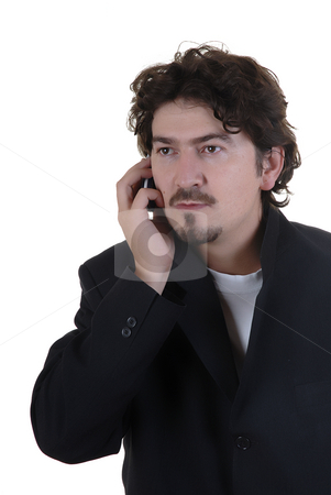 Chat stock photo, Man on the phone over a white background by Rui Vale de Sousa