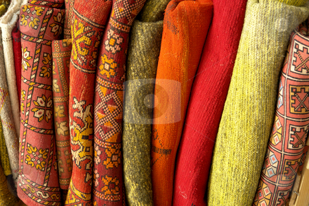 Carpet stock photo, African carpet background detail in a street of morocco by Rui Vale de Sousa