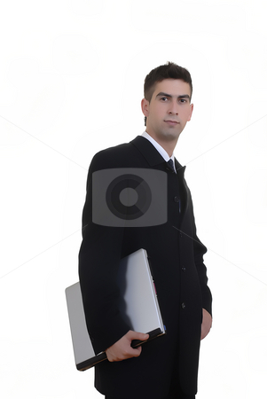 Stand stock photo, Youn business man portrait with personal computer by Rui Vale de Sousa