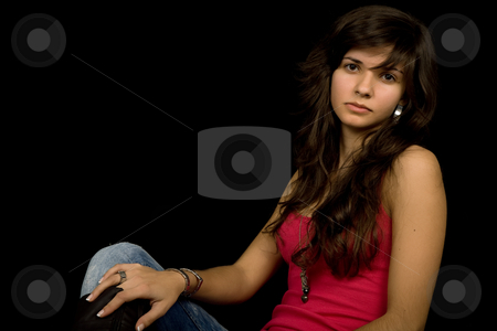 Girl stock photo, Young beautiful brunette portrait against black background by Rui Vale de Sousa