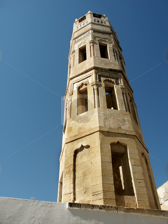 Tower stock photo, Old mosque tower at monastir, in tunisia by Rui Vale de Sousa