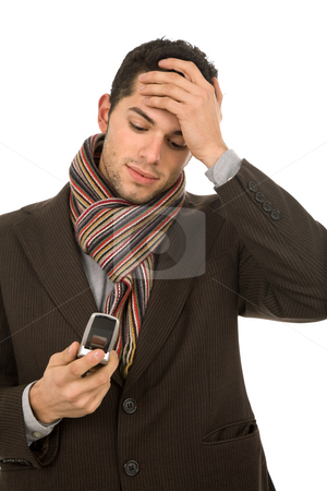 Worried stock photo, Young business man on the phone, isolated by Rui Vale de Sousa