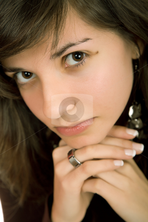 Looking stock photo, Young beautiful sad woman close up portrait by Rui Vale de Sousa