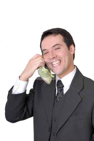 Shoe stock photo, Young business man calling with a shoe isolated on white by Rui Vale de Sousa