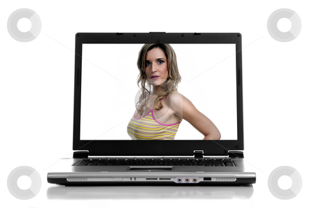 Laptop stock photo, Laptop with a young woman isolated on white background by Rui Vale de Sousa