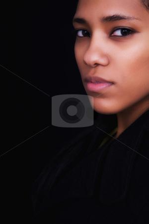 Half stock photo, Young beautiful woman close up portrait, on black background by Rui Vale de Sousa