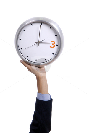 Clock stock photo, Man with a clock isolated in white background by Rui Vale de Sousa
