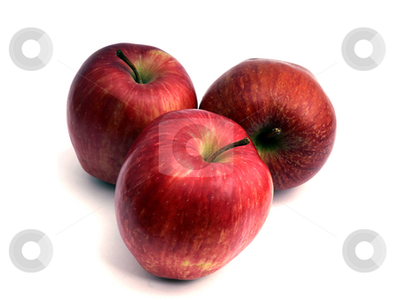 Apple stock photo, Three red apples side by side on white by Rui Vale de Sousa