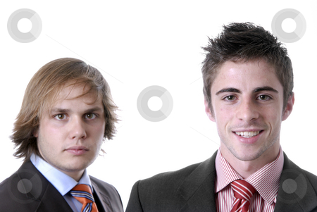 Happy stock photo, Two young business men portrait on white by Rui Vale de Sousa