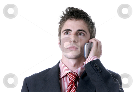 Calling stock photo, Man on the phone over a white background by Rui Vale de Sousa