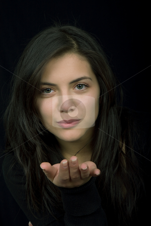 Kiss stock photo, Young woman portrait isolated on black background by Rui Vale de Sousa