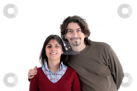 Couple stock photo, Young casual couple isolated on white background by Rui Vale de Sousa