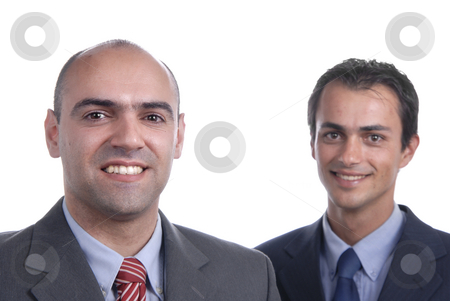 Portrait stock photo, Two young business men portrait on white. focus on the left man by Rui Vale de Sousa