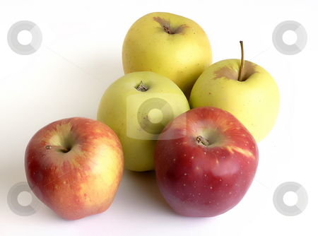 Apples stock photo, Yellow and red apples in white background by Rui Vale de Sousa