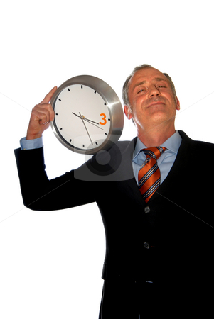 Clock stock photo, Business man with a clock isolated on white by Rui Vale de Sousa