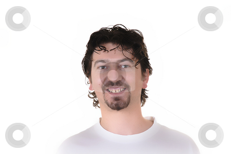 Happy stock photo, Casual young man portrait in a white background by Rui Vale de Sousa