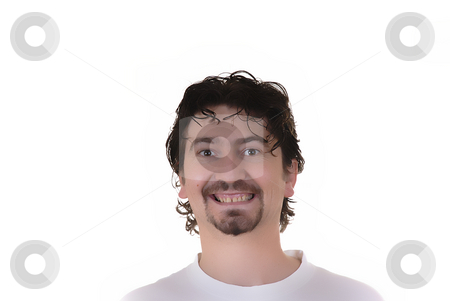 Portrait stock photo, Young casual crazy man in a white background by Rui Vale de Sousa