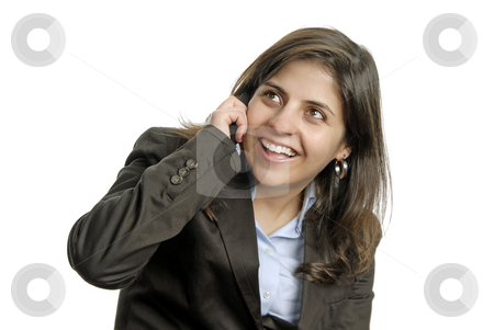 Calling stock photo, Business woman on the phone over a white background by Rui Vale de Sousa