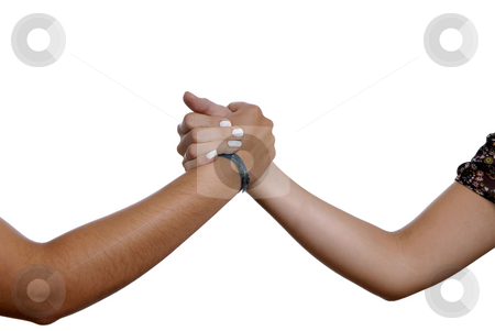 Shake stock photo, An women hand shake isolated on white by Rui Vale de Sousa