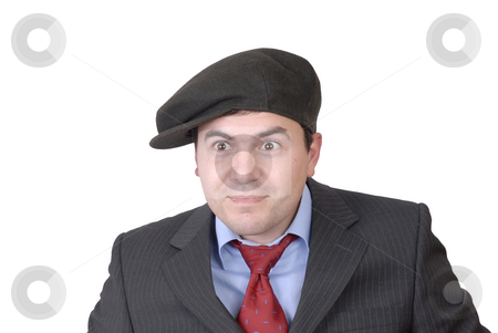 Silly stock photo, Young man portrait with a hat isolated on white by Rui Vale de Sousa