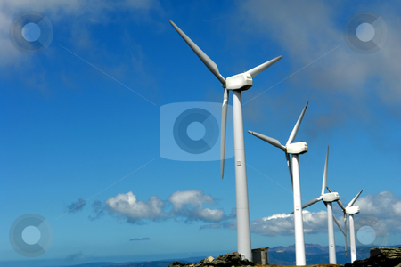 Wind stock photo, A few wind turbines on the mountain by Rui Vale de Sousa