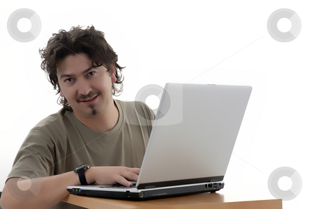 Worker stock photo, Young casual man working with personal computer by Rui Vale de Sousa