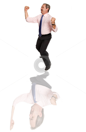 Dancing stock photo, Mature business man dancing with distorced reflection by Rui Vale de Sousa