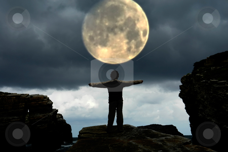 Adore stock photo, Woman with arms wide open and the moon by Rui Vale de Sousa