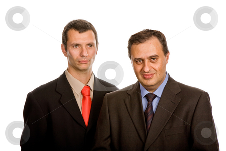 Businessmen stock photo, Two young business men portrait on white by Rui Vale de Sousa