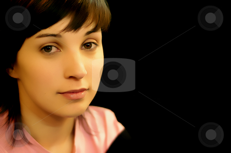 Girl stock photo, Young casual woman in a black background by Rui Vale de Sousa