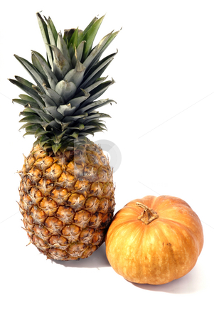 Fruit stock photo, Pinapple and a pumpkin isolated on white by Rui Vale de Sousa