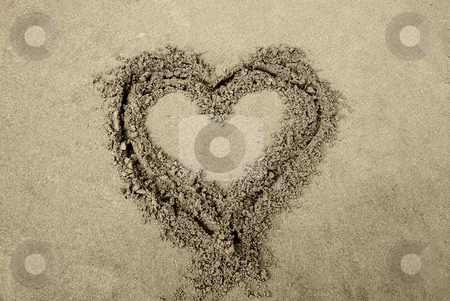 Heart stock photo, Draw of a heart in the wet sand by Rui Vale de Sousa