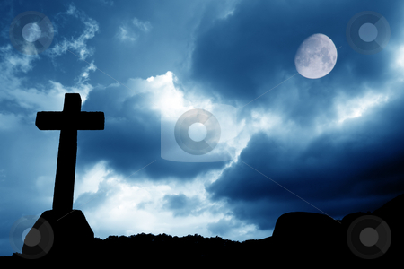Faith stock photo, Cross silhouette and the sky with full moon by Rui Vale de Sousa