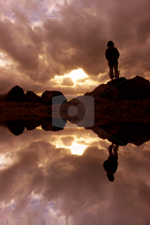 Woman stock photo, Woman at the sunset, with water reflection by Rui Vale de Sousa