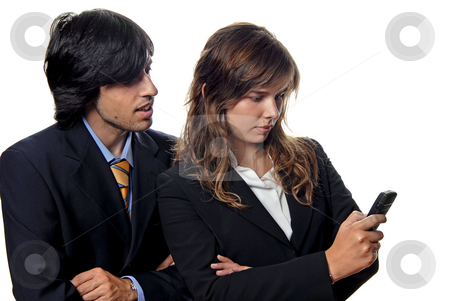 Couple stock photo, Business couple, woman secretary with cell phone by Rui Vale de Sousa
