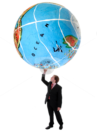 Globe stock photo, Young business man holding a globe with a hand by Rui Vale de Sousa