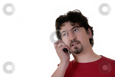 Call stock photo, Young casual man portrait talking on the phone by Rui Vale de Sousa