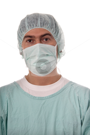 Nurse stock photo, Young male nurse, isolated on white background by Rui Vale de Sousa