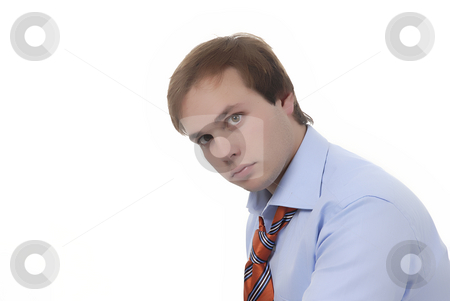 Man stock photo, Young business man with tie in white background by Rui Vale de Sousa