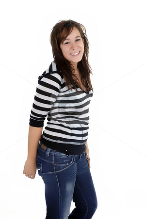 Woman stock photo, Young casual woman portrait in white background by Rui Vale de Sousa