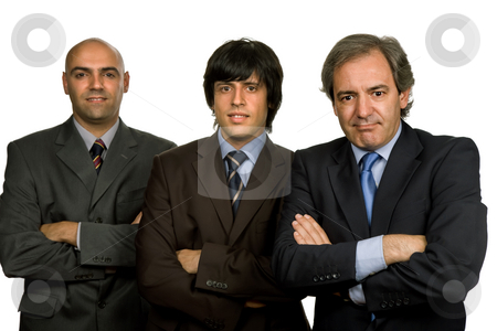 Teamwork stock photo, Three business man isolated on white background by Rui Vale de Sousa