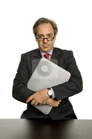 Executive stock photo, Mature business man with his laptop, isolated on white by Rui Vale de Sousa
