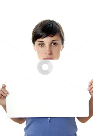 Add stock photo, Young girl holding a card, close up by Rui Vale de Sousa