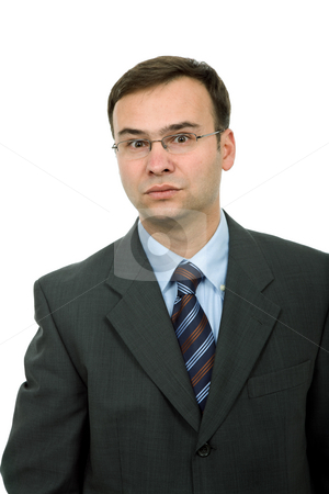 Worried stock photo, Young business man portrait in white background by Rui Vale de Sousa