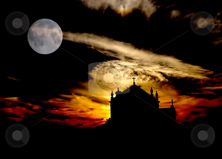 Church stock photo, Church at the beach with full moon by Rui Vale de Sousa