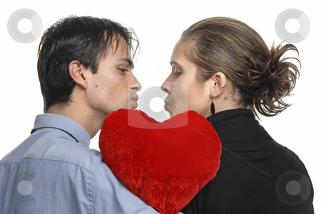 Love stock photo, Young couple in a kiss, isolated on white by Rui Vale de Sousa