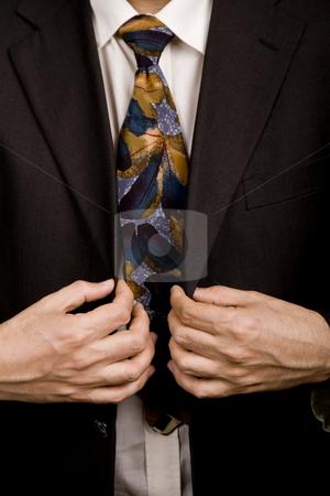 Man suit stock photo, Detail of a Business man suit with colored tie by Rui Vale de Sousa