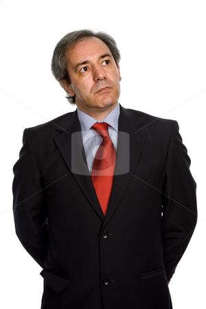 Wondering stock photo, Mature business man portrait in white background by Rui Vale de Sousa